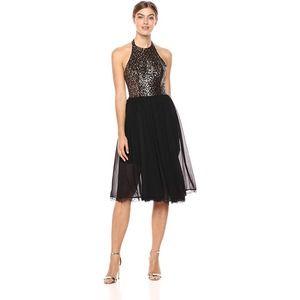 NEW DRESS THE POPULATION Gold Tatiana Halter Dress